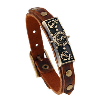 Retro Leather Anchor Wristband