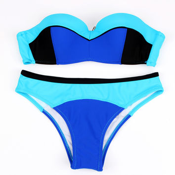 Hot 2016 Color Block Sexy Women Beadeau Swimwear Beachwear Top Strapless Push up Padded Bikini Set Swimsuit Hit Color FB843