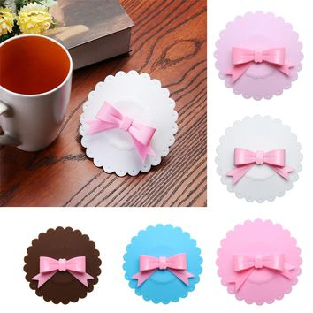 Bowknot For Anti-Dust Silicone Lids Tea Cup Cover Coffee Caneca Xicara Tea Cup Vasos De Plastico Suction Seal Cap Gifts