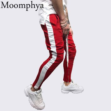 Moomphya Stylish side striped men joggers pants Streetwear hip hop men sweatpants pantalon homme Slim pants men zipper trousers