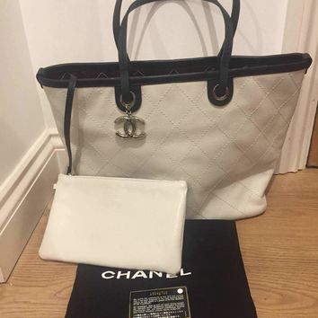 Chanel Limited Edition Shopping Fever Grained Calfskin Tote Bag in White/Black