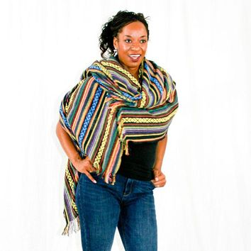 Blanket Shawl in Southwestern Multi-Colored Stripes