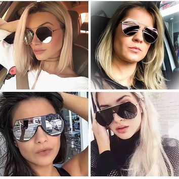 Women Mirror Flat Top Sun Glasses Metal Frame Big Shades