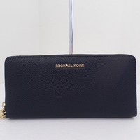 NWT AUTHENTIC MICHAEL KORS MERCER TRAVEL CONTINENTAL LEATHER WALLET-$168-ADMIRAL