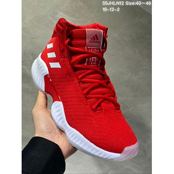 HCXX A493 Adidas Pro Bounce 2018 Mid Flyknit Actual Baskteball Shoes Red