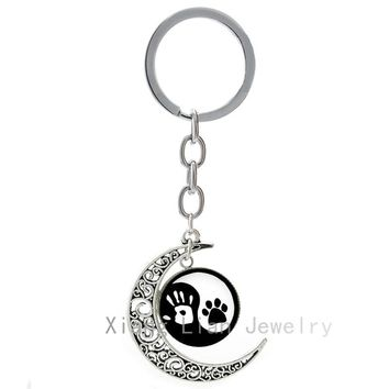 New lovely best friends Tai  Yin Yang Handprint & Dog Paw Print keychain tai ji human dog Harmonious balance key chain T824