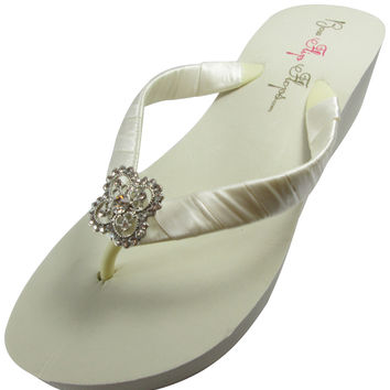 Bridal Flip Flops, Square Filigree Bling, Ivory White Wedge Sandals