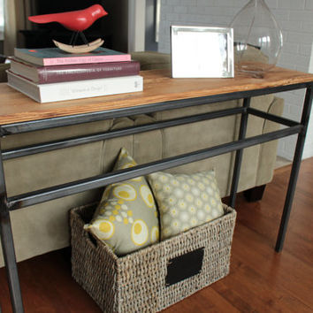 Industrial Steel and Reclaimed Wood Console.