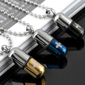 Necklaces & Pendants Stainless Steel Capsule Pendant Necklace For Women And Men Jewelry Allergy Free