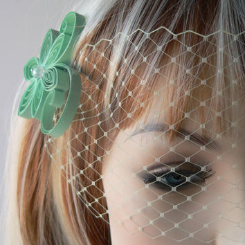 Pale Mint Green Birdcage Veil / Light Green Wedding Veil / Light Green Blusher Veil / Light Seafoam Bridal Veil Mint Vintage Style Veil