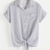 Vertical Pinstriped Knotted Hem Shirt -SheIn(Sheinside)