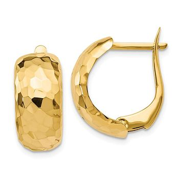 8.25mm x 18mm (11/16 Inch) 14k Yellow Gold Hammered Omega Back Hoops