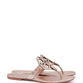 Tory Burch Miller Sandal, Metallic Snake-print Leather
