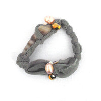 Fabric grey bracelet Beaded bangle with recycled shells and sponge for her - one of a kind - OOAK