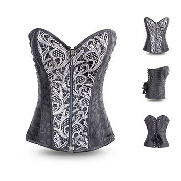 Grey Jacquard Print with Crochet Lace Accent Zip Corset