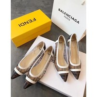 DCCK 1686 Fendi FD Classic Kitten Heels Single shoes white