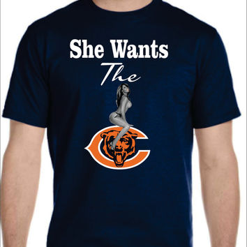 Bears Logo T-shirt Ladies Men's Chicago Chi town NFL She Wants the D