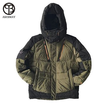 Asesmay High Quality Men Fashion White Duck Down Jacket Winter Hooded Down Coat Waterproof Zipper Casual Snow Parka Thick Warm