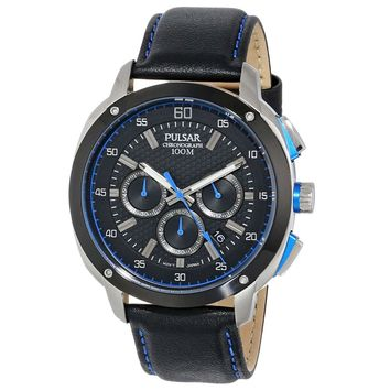 Pulsar PT3391 Men's On The Go Black Dial Black Leather Strap Chronograph Watch