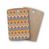 "julia grifol ""Small Diamonds"" Brown Gray Pattern Geometric Vector Digital Rectangle Wooden Cutting Board"