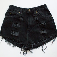 "ALL SIZES Vintage ""APOLLO"" High Waisted Denim Shorts distressed frayed"