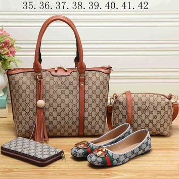 DCCKR2 GUCCI 2018 Women s Exquisite Fashion Four Piece Set Bag Shoes F-KSPJ-BBDL brown