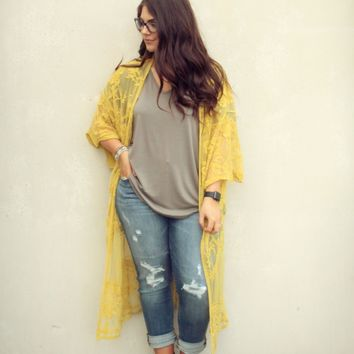 Daytime Dreamer Lace Duster- Mustard