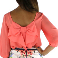EVERLY Bow Back Blouse - Salmon   .H.C.B.