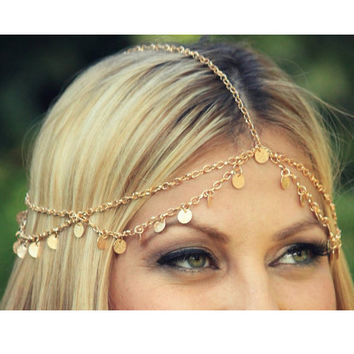 Fashion Plated Gold Head Chain Pieces Women Boho Headpiece Metal Headband Wrap Jewelry 5A048