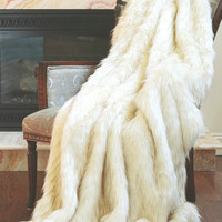 Arctic Fox Faux Fur Throw Blanket