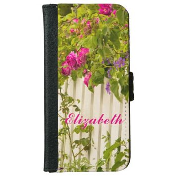 Personalized pink roses on a white garden fence iPhone 6 wallet case