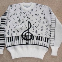 Crew Neck Sweater with Musical Music Notes & by needsgoodhome