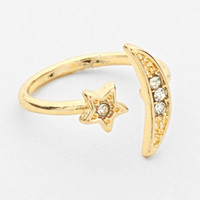 Crescent Moon Star Knuckle Ring