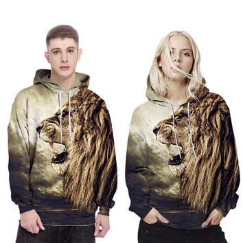 2017 autumn and winter new men's hooded 3D printing sweater custom