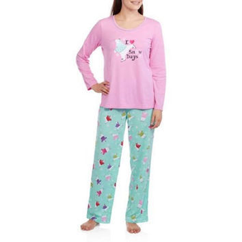Secret Treasures Women's Holiday Knit Pajama Set, Pink/Blue, X-Large