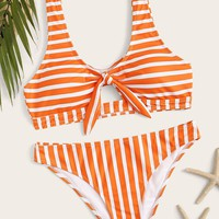 Striped Knot Front Top With Cheeky Bikini Set