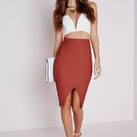 Missguided - Textured Wrap Front Midi Skirt Rust