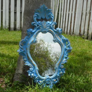 Large Vintage Italian Baroque Ornate Decorative Blue & Gold Mirror - Large Antique Italian Ornate Mirror