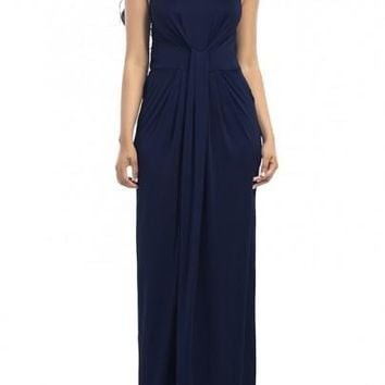 Dark Blue Halter Neck Off-Shoulder Prom Evening Party Maxi Dress