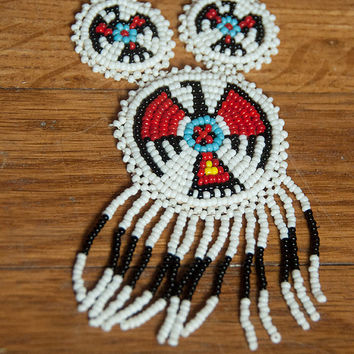 White Native American Seed Beaded Fringe Necklace | Turquoise and Red Tribal Thunderbird Phoenix | 70s Handmade Beadwork Medallion Necklace