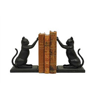 Cast Iron Cat Bookends, Black, Set of 2 - 7-1/4-in