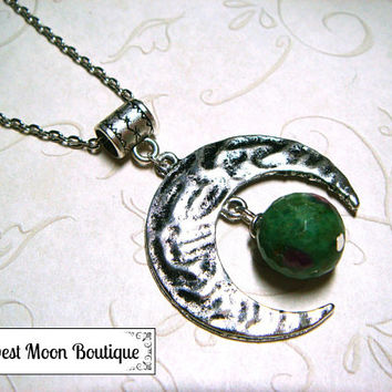 Moon Necklace Metaphysical Spiritual Lunar Moon Jewelry Celestial Jewelry Wiccan Pagan Witchcraft Ruby Zoisite Gemstone Lunar Unisex Gift