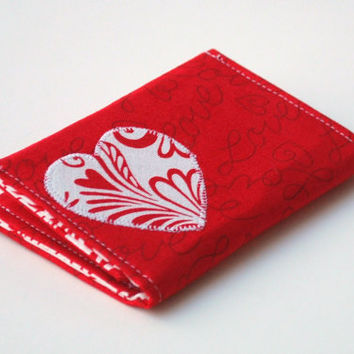 Heart Wallet Business Card Holder Red Card by BrooklynLoveDesigns