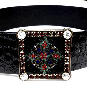 Nanni Black Patent Leather Belt With Crocodile Embossing. (NANNI Milano)