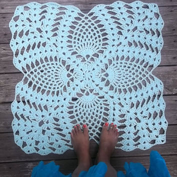 "Robins Egg Blue Cotton Crochet Rug with Pineapple Pattern in 28"" Square Doily Non Skid"
