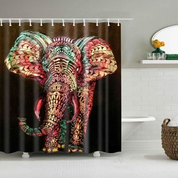 High Quality Colorful Big Art Elephant Print Shower Curtain 3D Polyester Fabric Waterproof Mildewproof Bathroom Curtain Gift