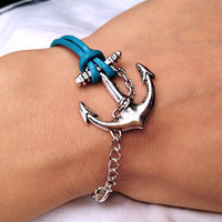Ocean Blue Leather Bracelet With Anchor charm by pier7craft