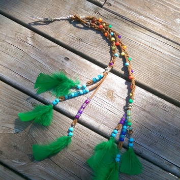 Boho rainbow hair clip - Bohemian hair Feathers - Tribal Boho Hair Feathers - long hair extension