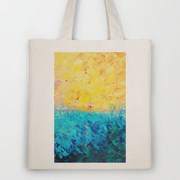 THE DIVIDE - Stunning Bold Colors, Ocean Waves Sun, Modern Beach Chic Theme Abstract Painting Tote Bag by EbiEmporium | Society6