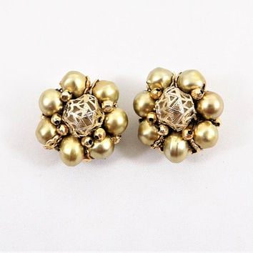 Gold Beaded Earrings, Clip Ons, Made in Hong Kong, Vintage Earrings